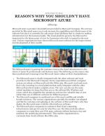 REASON'S WHY YOU SHOULDN'T HAVE MICROSOFT AZURE