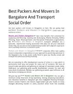 Best Packers And Movers In Bangalore And Transport Social Order