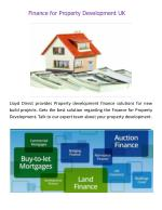 Finance for Property Development Uk