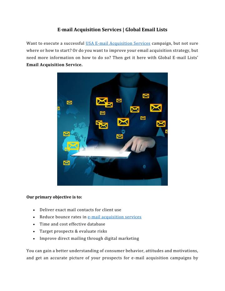 PPT - E-mail Acquisition Services - Global Email Lists