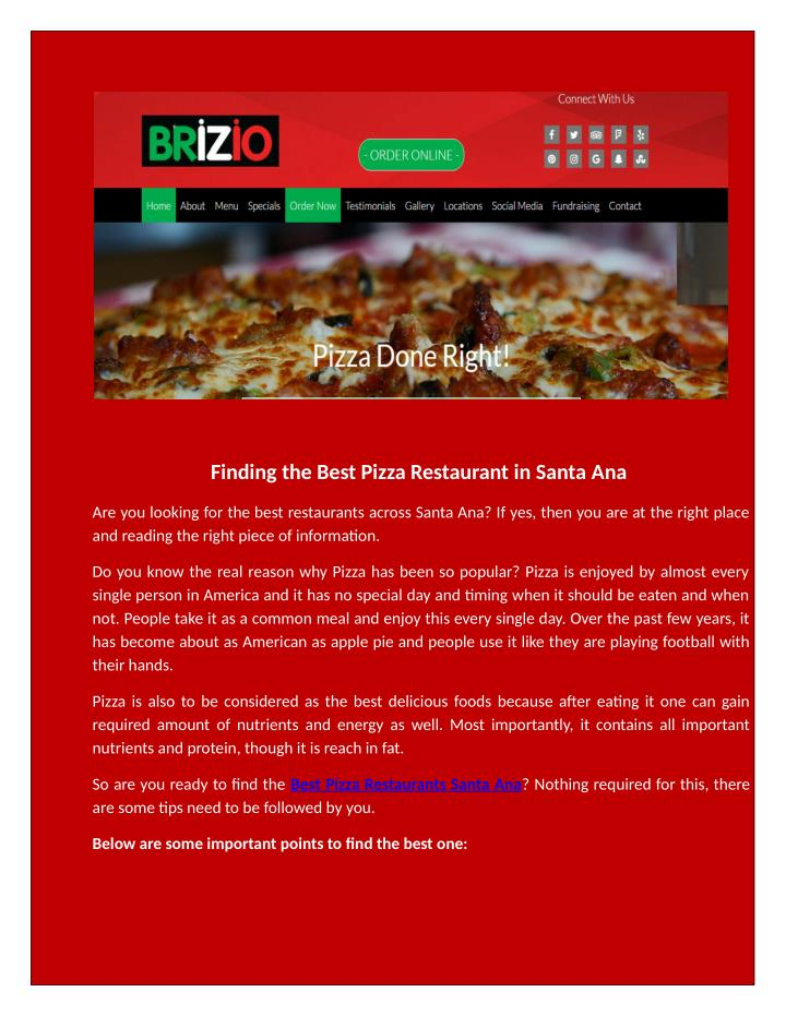 Ppt Are You Looking Best Pizza Restaurant Santa Ana Powerpoint Presentation Id 7559216