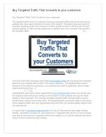 Buy Targeted Traffic That Converts to your customers
