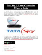 Tata Sky HD New Connection Offers in India