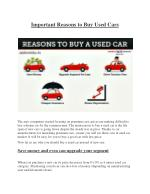 Important Reasons to Buy Used Cars