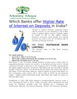 Interest Rate on fixed Deposits in India
