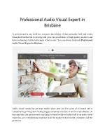 Professional Audio Visual Expert In Brisbane