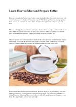 Learn How to Select and Prepare Coffee