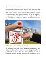 Experience is key in Real Estate