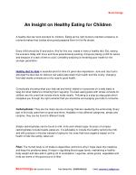 An insight on healthy eating for children