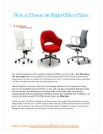 How to Choose the Right Office Chairs