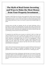 The Myth of Real Estate Investing and Ways to Make the Most Money from Your Property Investment