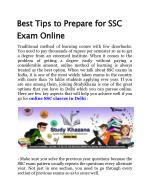 Best Tips to Prepare for SSC Exam Online