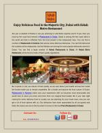 Enjoy Delicious Food in the Majestic City, Dubai with Kebab Bistro Restaurant