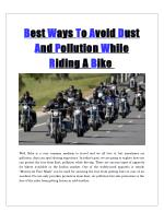 Best Ways To Avoid Dust And Pollution While Riding A Bike