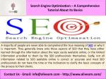 Search Engine Optimization – A Comprehensive Tutorial About Its Basics