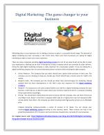 Digital Marketing -The game changer to your business