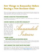 Few Things to Remember Before Buying A New Recliner Chair