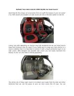 Refresh Your Auto Interior With Stylish Car Seat Covers