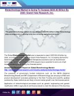 Biotechnology Market Is Going To Surpass $604.40 Billion By 2020: Grand View Research, Inc.