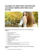 ALLERGY IN THE NOSE AND SINUSES (ALLERGIC RHINO SINUSITIS, HAY FEVER)