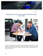 Helpful Tips on How to Get Approved for Bad Credit Auto Loans