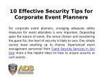 10 Effective Security Tips for Corporate Event Planners