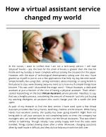 How a virtual assistant service changed my world