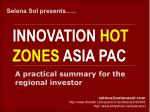 Innovation Hot Zones in Asia Pacific