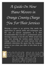 A Guide On How Piano Movers in Orange County Charge You For Their Services