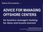 Advice for setting up an offshore or nearshore location