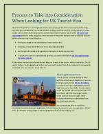 Process to Take into Consideration When Looking for UK Tourist Visa