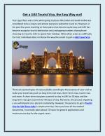 Get a UAE Tourist Visa, the Easy Way out