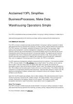Acclaimed Y3PL Simplifies BusinessProcesses, Make Data Warehousing Operations Simple