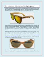The Importance of Buying Eco-Friendly Sunglasses