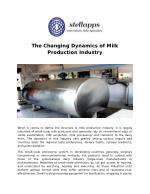 The Changing Dynamics of Milk Production Industry