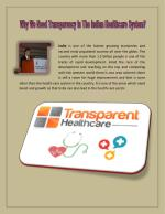 Why Transparency is too Important in Indian Healthcare System?