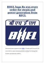 BHEL bags Rs 233 crore order for steam and power generation from RFCL