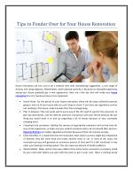 Tips to Ponder Over for Your House Renovation