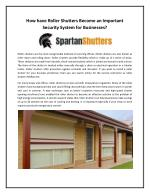 How have Roller Shutters Become an Important Security System for Businesses