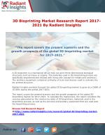 3D Bioprinting Market Research Report 2017-2021 By Radiant Insights