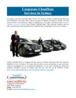 Corporate Chauffeur Services in Sydney