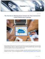 The Secrets to Writing Great Content for Your Automotive Online Marketing Campaign