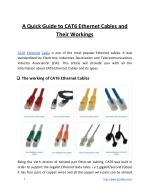 A Quick Guide to CAT6 Ethernet Cables and Their Workings