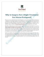 Why Is Surgery Not A Right Treatment For Uterus Prolapsed