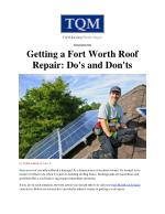 Getting a Fort Worth Roof Repair: Do's and Don'ts