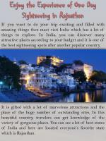 Enjoy the Experience of One Day Sightseeing in Rajasthan