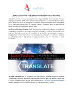 Know the Facts about Translation Service Providers.