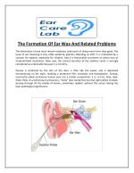 The Formation Of Ear Wax And Related Problems