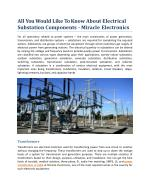 All You Would Like To Know About Electrical Substation Components - Miracle Electronics