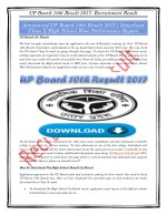 Announced UP Board 10th Result 2017| Download Class X High School Wise Performance Report